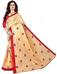 SRK Cotton Saree With Blouse Piece(SRK-S1092_Beige_Free Size)