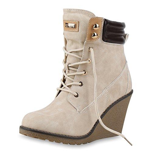 e65e02794b1249 SCARPE VITA Gefütterte Damen Stiefeletten Keilabsatz Boots Profilsohle  165676 Creme Gefüttert 40