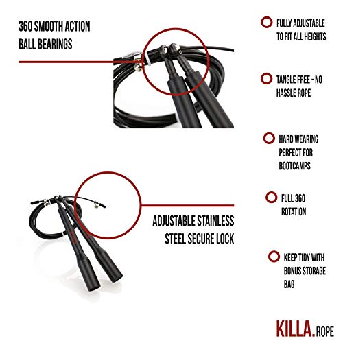 Killa-Skipping-rope-High-grade-Adjustable-Advanced-speed-skipping-rope-perfect-for-FitnessCardio-BoxingMMA-CrossFitDouble-unders-and-ideal-for-fatloss