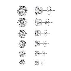 Idea Regalo - Czemo 6 Paia di Orecchini a Bottone Gioielli in Acciaio Inossidabile Orecchini Punto Luce di Zirconia Cubica per Donna