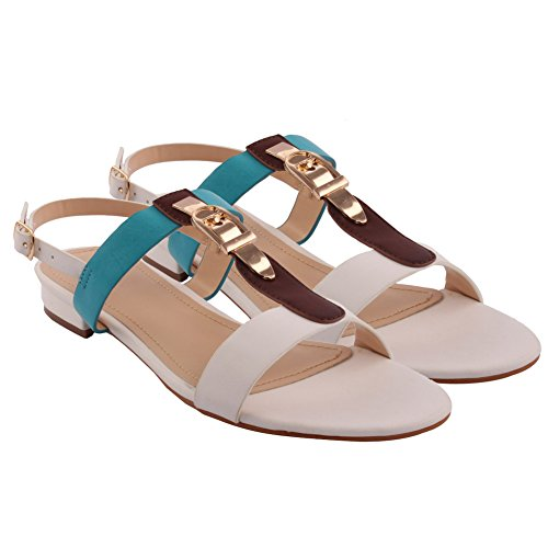 Unze New Women 'Ron' T-Bar Sling Retour Summer Beach Party Get Together School Carnaval Casual Sandales plates Taille UK 3-8 Blanc