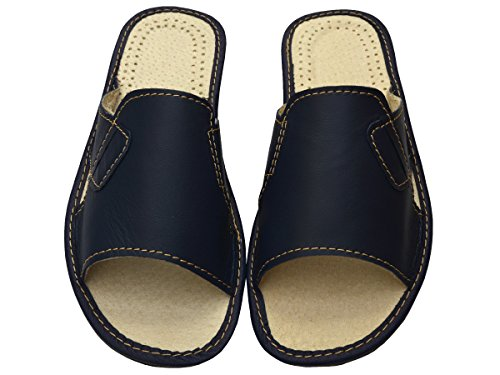 Genuine Mens Black Beige Blue Leather Slippers Slip-On Shoes Gift Box (Optionally) Modell XC55 Blue