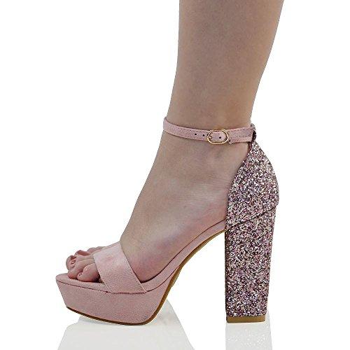 essex-glam-damen-pastell-rosa-wildlederimitat-funkeln-knchelriemchen-plateau-hoher-blockabsatz-schuh
