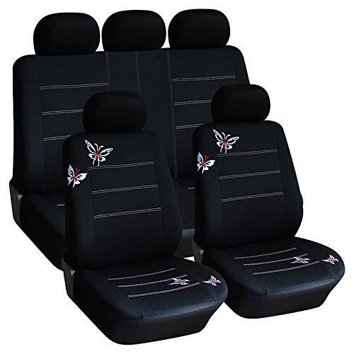 Schmetterlingsstickerei Autositzbezug-Set Universal Fit Die meisten Auto saugfähigen rutschfesten waschbar, schwarz