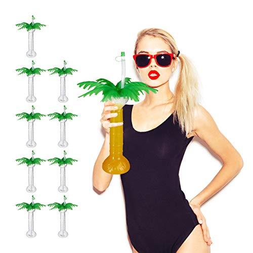 Relaxdays 10x Trinkbecher Palme, mit Deckel & Strohhalm, Mehrweg, to Go, Kunststoff, 500ml, Plastikbecher, transparent/grün