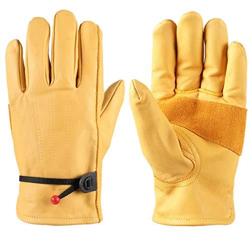 SWELLY- Guanti Invernali Palm Plus Care Guanti Moto Antiscivolo Vintage Antiscivolo in Pelle, Giallo