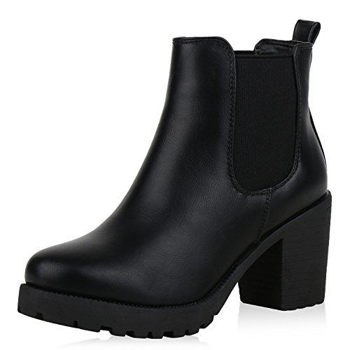 SCARPE VITA Damen Stiefeletten Chelsea Boots Plateau Booties Profil Schuhe 168405 Schwarz 39
