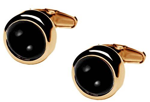 Gold/Black Polo Onyx Centre boutons de manchette de denisonboston
