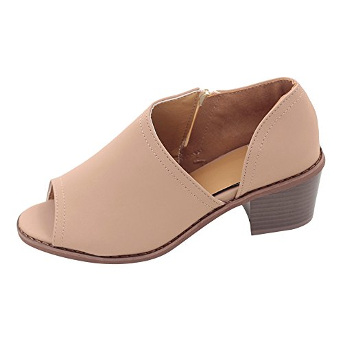 Kaister Damen mode Fischmundschuhe feste wilde quadratische Ferse einzelne Schuhe Sommer Strand Reise Schuhe Schwarz Braun Khaki
