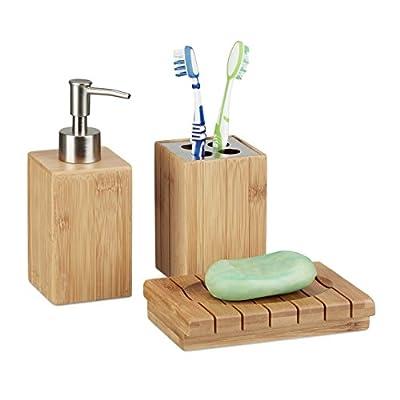 Relaxdays Badaccessoires aus Bambus, 3-teiliges Badezimmer Set aus Seifenspender, Seifenschale u. Zahnbürstenhalter