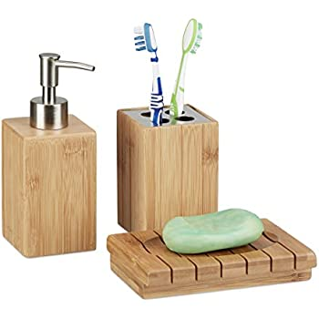 relaxdays bad accessoires set 4 teilig bambus zahnb rstenhalter seifenspender seifenablage. Black Bedroom Furniture Sets. Home Design Ideas