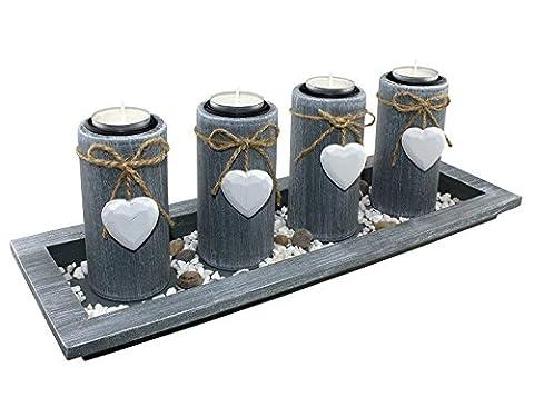 Teelichthalter-Set Landhausstil Kerzenleuchter Kerzenständer Tischdekoration aus Holz by GREAT ART