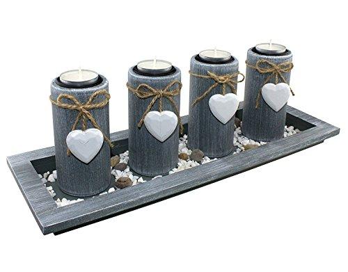 great-art Teelichthalter Set im Landhausstil - Kerzenleuchter Kerzenständer Teelicht Kerzen Tischdekoration Adventskranz aus Holz