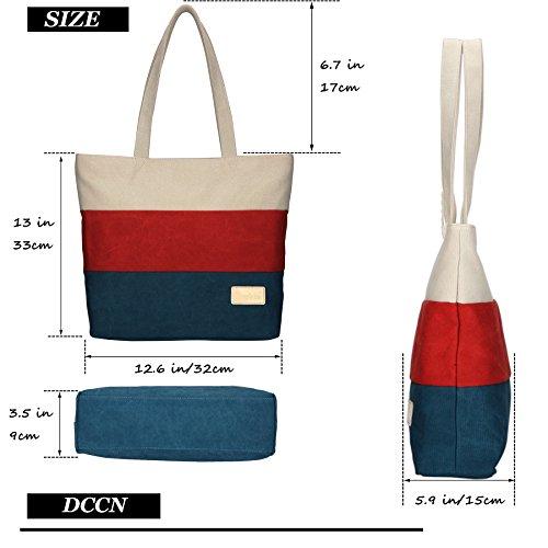 DCCN Borsa a tracolla Canvas Bag con tracolla in pelle spalmala College Color 2