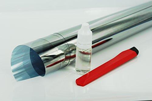 9,21€/m² Spiegelfolie 61 cm Rollenbreite Fensterfolie AL70C Innen Montage UV Schutz Isolierung (1m x 61 cm)