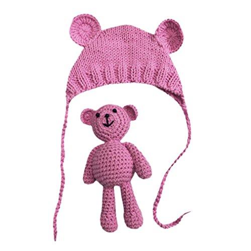 Fuibo Neugeborene Stretchy Stricken Foto Baby Hut + Hosen Kostüm Fotografie Requisiten (Hot Pink)