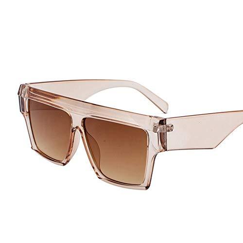 Easy Go Shopping Retro Round Face Universal Brille Persönlichkeit Box Sonnenbrille Europa und den Vereinigten Staaten Strand Sonnenbrille Sonnenbrillen und Flacher Spiegel (Farbe : Brown)