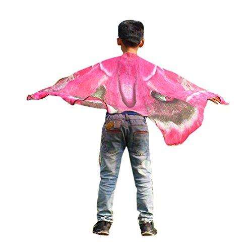Kostüm Pixie Pink - Kinder Schmetterling Schal 147*100CM,Loveso Kind Kinder Jungen Mädchen Schmetterling Flügel Schals Fairy Göttin Karneval Damen nympho Pixie Cosplay Weihnachten Kostüm Zusatz (147*100CM, Pink)