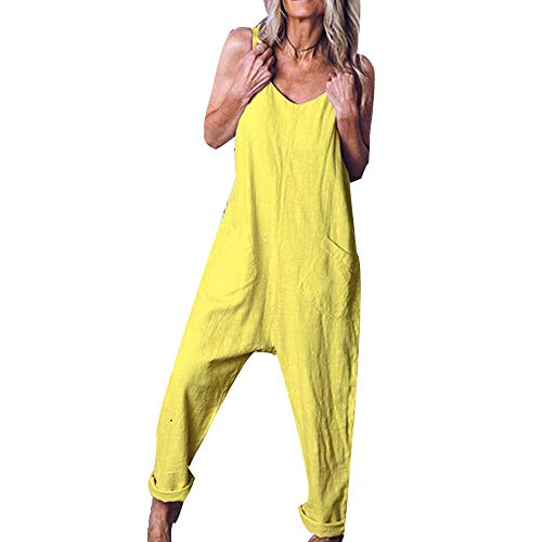 DOTBUY Damen Latzhose Jumpsuits Playsuit Overall mit Taschen Sommer Casual Elegant Loose Baggy Leinen Lange Wide Leg Hosen (XL,Gelb)