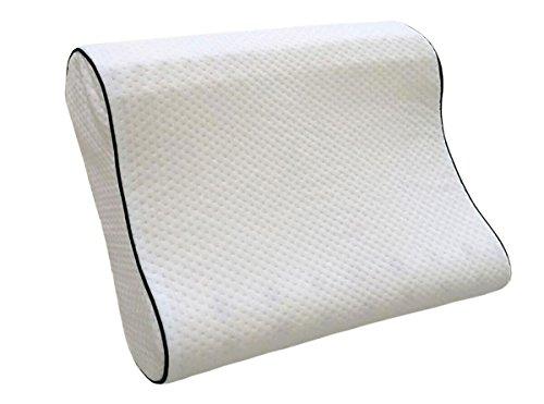 Dormiluna Visco-Nackenstützkissen   aus punktelastischem Visco-Schaum / Memory-Schaum   Geeignet als Rückenschläfer-Kissen und Seitenschläfer-Kissen   37 x 50 x 10/12 cm