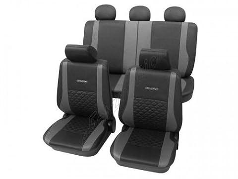 Housses pour sièges de voitures auto, Aspect cuir, Kit complet, Toyota Camry ohne Seitenairbag, anthracite noir gris