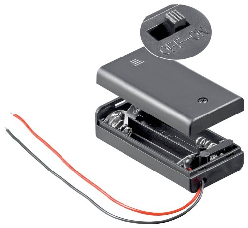 10 Stück, Batteriehalter, 2xmignon 'AA', geschlossenes Gehäuse -