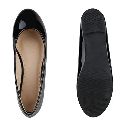 Klassische Damen Ballerinas | Glitzer Ballerina Schuhe Lack | Party Schuhe Zeitschuhe Schleifen | Basic Slipper Flats | Freizeitschuhe Hochzeit Abiball Schwarz Nude