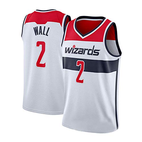 John Wall Trikot, Nr. 2, Washington Wizards, John Wall2#, Basketball Trikot, klassisch weiß ärmellos, Unisex Herrenliga-WhiteRed-M
