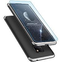 Huawei Mate 20 pro Hülle Case + Panzerglas, MISSDU Hard PC Handyhülle [Ultra dünn] [Slim] [Leicht] [Anti-Kratzer] Schutzhülle - Silber schwarz