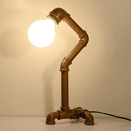 Weinlese-Tabellen-Lampe mit UL gelisteter Knopf-Schalter Steampunk industrielle Schreibtisch-Lampe Antike Wasser-Rohr-Licht für Loft-Studie Schlafzimmer-Bar-Café-Beleuchtung-Befestigungen -