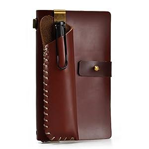 Agenda / cuaderno / diario de viaje – rellenable clásico / vintage, hecho a mano, con estuche porta-lápices