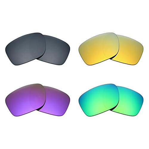 MRY 4Paar Polarisierte Ersatz Gläser für Oakley Holbrook sunglasses-black Iridium/24K Gold/Plasma violett/Smaragd Grün