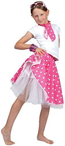 50er Hop Kostüm Jahre - Fancy Me Mädchen 50er Rosa Schwarz Rot Blau Rock and Roll Rock & Schal Soda Hop Rockabilly Punktmuster Party Carnival Kostüm Kleid Outfit - Rosa, Einheitsgröße