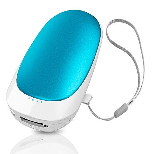 T98 USB Handwärmer, Elektrisch Taschenofen Doppelseitig Aufladbarer Taschenwärmer Wiederverwendbar, 5200mAH Hohe Kapazität Tragbare Powerbank für Handys iPad Tablets Smartphones MP3-Player etc (Blue)