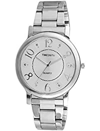 Timesmith Premium Limited Edition Silver Dial Silver Stainless Steel Strap Branded Anaog Watch For Women TSM-122-S