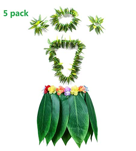 CWeep Ti Leaf Hula Skirt Hawaiian Leaf Skirt Green Grass Skirt with Necklaces Bracelets Headband Luau Party Supplies (5Pcs) (Skirt Grass Hawaiian)