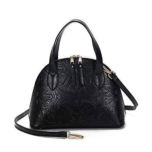 Meier Designer Kollektion Mode Handtasche mit Pompon Anhänger, Klassische Frauen Geldbörse, Handtasche für Frauen Satchel Geldbörse, Rindsleder (Farbe : SCHWARZ)