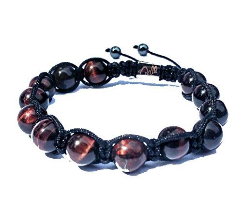Jo.28 Designer Armband Rocky aus Handarbeit - Edles Perlenarmband mit 13 echten 8mm braungoldenen Tigerauge Perlen - Armschmuck für Damen und Herren - Paracord Jade