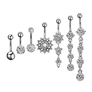 7 Stück Bauchnabel Ringe Baumeln set 14g Nabelpiercing Titan Edelstahl,Bauchnabelpiercing Bauchnabel Piercing Bauch Kristall Glas Schmuck Bogen-Diamant-Nabel-Ring-Bauch für Damen, 7Stile (Silber)
