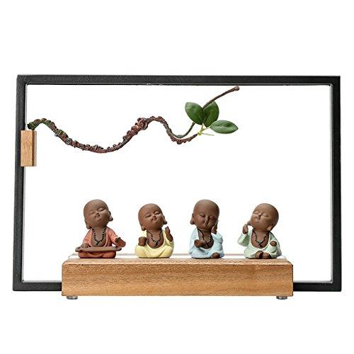 DGEG Tischlampe Kreative Einfache Moderne Zen Keramik Haushalt Mönch Handwerk Dekoration Beleuchtung Dekoration Holz für Schlafzimmer/Wohnzimmer (Alarm-zen)
