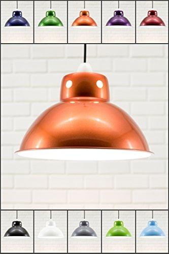 Luxa Lighting Funky Cafe Style rétro Plafonnier Pendentif Abat-jour en métal, industriel moderne Look vintage, 300 mm de diamètre