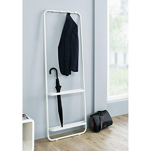 Garderobe Garderobenständer zum Anlehnen Metall weiß ca. T8 x B55 x H49 cm