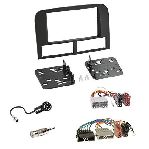 Doppel 2-DIN Radioblende + ISO Adapterkabel + Antenne für Jeep Grand Cherokee (WJ) 1999 - 2004