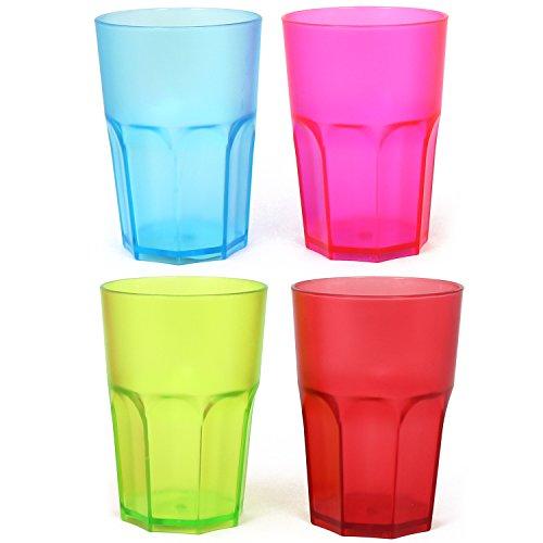 COM-FOUR® 4x Stabile Trinkbecher in verschiedenen Farben, bunte Mehrweg- Becher, stapelbar, 400 ml (04 Stück - Becher bunt)