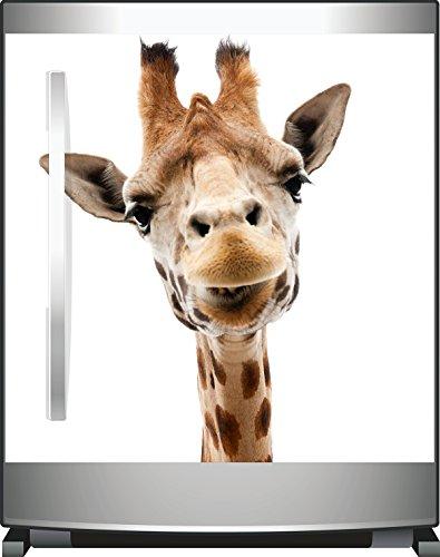 Wallario Kühlschrank-Aufkleber / Geschirrspüler-Aufkleber, selbstklebende Folie für Küchenschränke - 60 x 60 cm, Motiv: Giraffenkopf