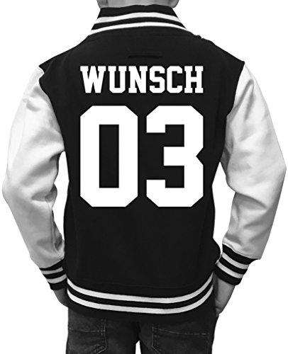 Comedy Shirts Wunsch - Mädchen College Jacke - Schwarz/Weiss Gr. 152/158