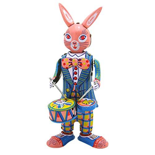 Plüsch Bildung Squishy Spielzeug aufblasbares Spielzeug im Freien Spielzeug,Zinnblech Uhrwerk Kette Spielzeug Fotografie Prop Rabbit Trommeln ()
