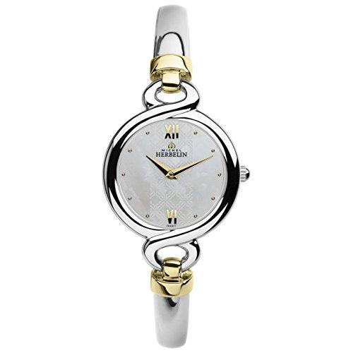 Michel Herbelin Damen Analog Quarz Uhr mit Edelstahl Armband 17435/BT19