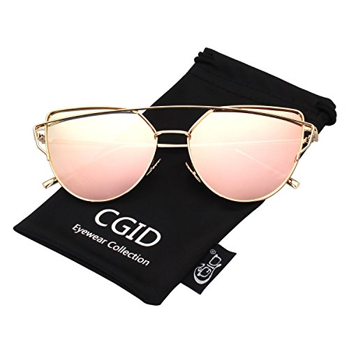 CGID MJ74 Women's Modern Fashion Mirror Polarized Cateye Sunglasses Goggles UV400