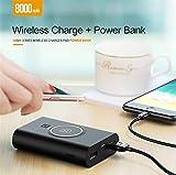 ZYX Drahtloses Ladegerät Power Bank Tragbares Ladegerät Qi Wireless Power Bank 2 Ausgänge 2 Eingänge Externer Akku für iPhone X / 8, Samsung Galaxy S8 Hinweis 8 und mehr,Black